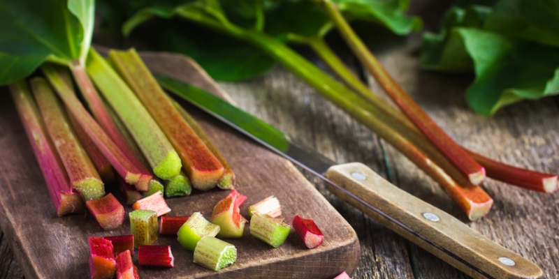 fresh organic rhubarb on wooden background